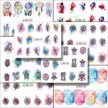 Water sticker for nail art decoration slider watercolor feather owl skull moon girl nail design decal lacquer accessoires 7(China)