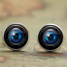 10pairs/lot Camera Lens earring, a lens that focuses the image in a camera earring print photo Lens earring(China)