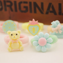 5pcs Fresh Bear Flowers Hair Rope Baby Cartoon Hair Circle Children Color Role ring Tasted Small Trojan Tire Hair Accessories