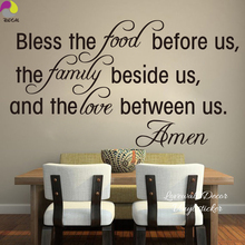 Bless the Food Before Us Love Between us Dining Room Wall Sticker Family Amen God Quote Wall Decal Kitchen Wall Art Home Decor(China)