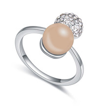 Gorgeous Women's Jewelry Fashion Pearl Finger Rings Made with Swarovski Element Ladies Party ring Austrian Crystal Jewellery(China)