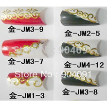 NEW ARRIVAL 10Sheet/LOT Wholesale Gold 3D Nail Sticker Flower Nail Art sticker Design nail accessories for nail art(China)