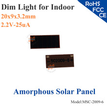 20X9mm 2.2V 25uA dim light Thin Film Amorphous Silicon Solar Cell ITO glass for indoor Product,calculator,toys,0-1.5V battery