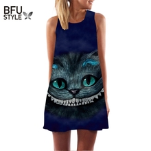 2017 Summer Dress Cat Print O-Neck Sleeveless Dress Women Sexy Casual Mini Vestido Casual A-Line Dresses Funny Casual Top