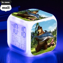 Temperature Display Clocks Masha and Bears LED Alarm Clock Multifunction Touch Lighting Up Digital Clocks reveil enfant Watch(China)