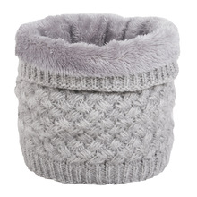 Ring-Scarf Warmers Plush-Scarves Snood Neck-Ring Knitted Fleece Winter Cotton Women Thick