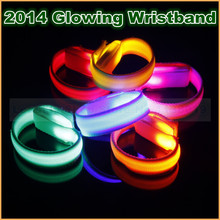 Novelty 2017 LED Light lamp bulb Up Glow Glowing flashing Wristband Bracelet for Disco Party Bar Halloween XMAS Multi Color
