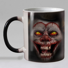 Halloween scary Joker Heat Reveal Mug Ceramic Color Changing Coffee Mug Magic Tea Cup Mugs best gift for friends(China)