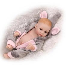 Bebe Full silicone body reborn baby dolls 27cm mini fake baby boy girl doll elephant clothing set best children gift bonecas(China)