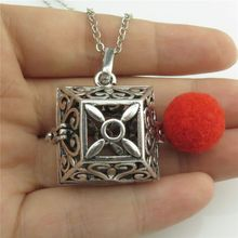 "GLOWCAT B0Q295 Fragrance Silver Copper Glow in the Dark Beads Heart Box Essential Oil Diffuser Locket Necklace 24"" Women"