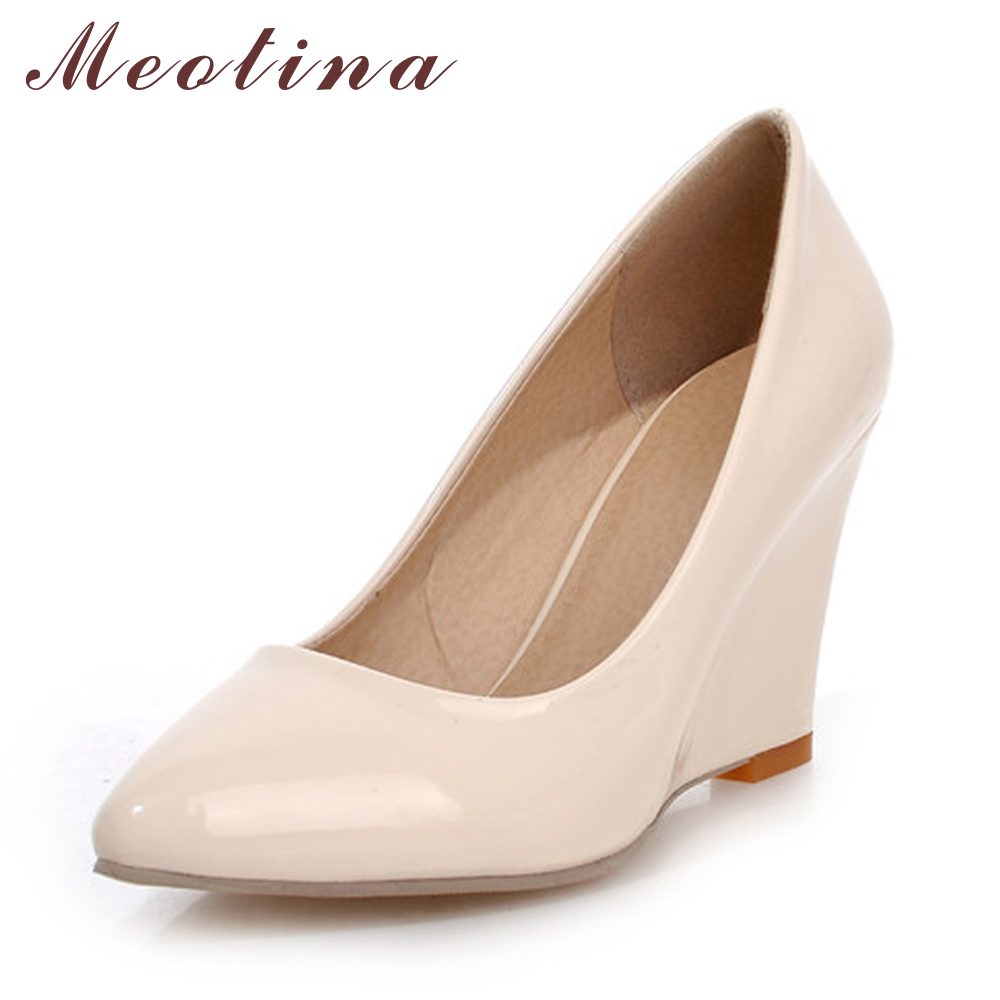 Meotina High Heels Women Wedge Heels Shoes Woman Pumps Pointed Toe High Heels Wedges Female Plain Apricot Shoes Large Size 42 10(China)