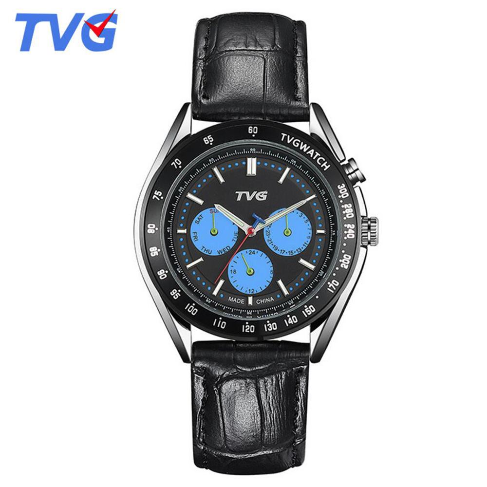2017 TVG Men Watch Famous Brand Leather strap Casual Quartz Watches Business Men Wristwatches Male Hours Relogio Masculino<br><br>Aliexpress