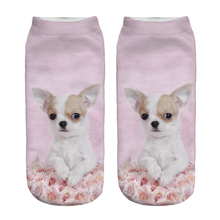New 1pair 3D Pink Rose Dog Pug Printed sock Unisex Cute Low Cut Ankle Sock Color Cotton sock Casual Charactor Sock Top