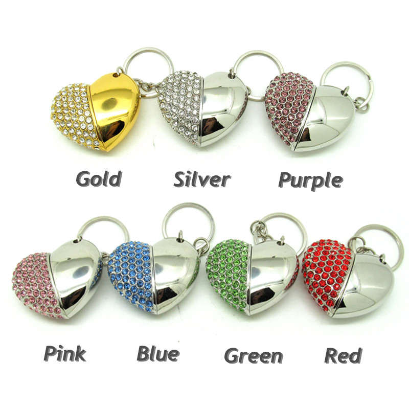 Bling Diamond beautiful heart pendrive Memory Stick USB Flash disk Pen Drive Full Capacity 4GB 8GB 16GB 32GB Lover's gift(China (Mainland))