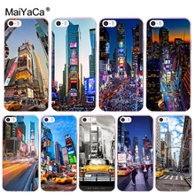 MaiYaCa New York City Times Square Taxi Transparent Cover Case for Apple iPhone 8 7 6 6S Plus X 5 5S SE 5C 4 4S Cover(China)