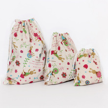 cute Signature Cotton Storage drawstring Bags Drawstring Backpack Baby Kids Toys Travel Shoes Laundry Lingerie Makeup Pouch