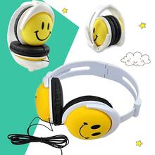 1.2m 3.5mm AUX Wired Headset Lovely Cartoon Smile Face Children Kids Foldable Wired Headband Headphones Handsfree Earphone