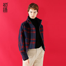 Toyouth Woollen Coat 2019 Winter Women Fashion Tartan Plaid Batwing Sleeve Short Style Casual Overcoat Female(China)