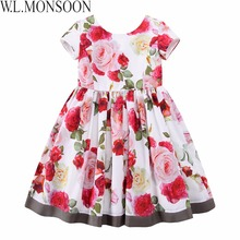 W.L.MONSOON Girls Floral Dress Summer 2017 Brand Reine Des Neiges Costume Princess Dress with Bow Kids Dresses for Girls Clothes(China)