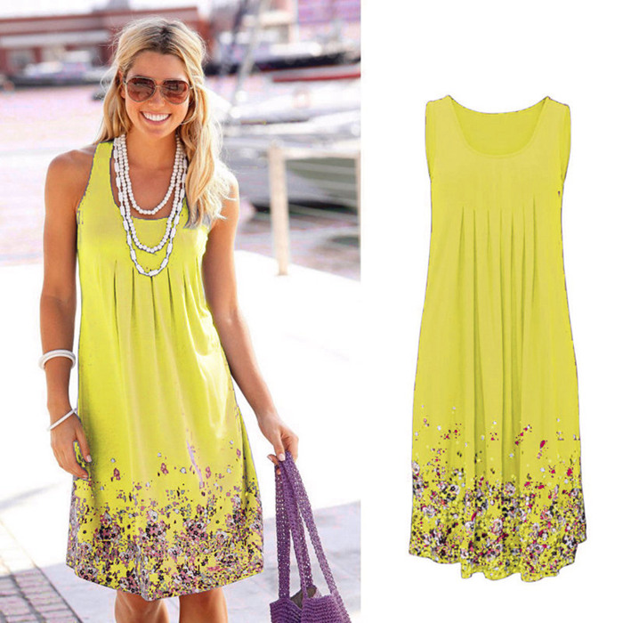 Sleeveless Floral Print Loose Beach Summer Dress Fashion Six Colors Casual Women Dress 19 Sexy Dress Plus Size S-5XL 12