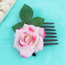 Romantic Fancy Silk Artificial Rose Flower Hair Comb Purple White Hair Clip  Wedding Bridal Women Prom 677ed1cb23e0
