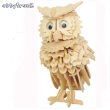 Abbyfrank Wooden Toys Puzzle Owl Model 3D Puzzles DIY Toy For Adult Woodcraft Handmade Toy Learning Toys Game For Children(China)