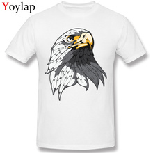 Cool O-Neck Men T-shirt Cotton Fabric Summer/Fall Tops Tees Short Sleeve Wholesale Clothing The Bald Eagle Cartoon Design(China)