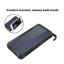 Portable Solar Power Bank 20000MAH Large Capacity Mobile Phone Battery Charger Power Supply Dual USB Ports Holder Powerbank
