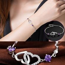 New Summer Style Romantic Double Heart Bracelet Female Silver Plated Women's Wedding Crystal Bracelets
