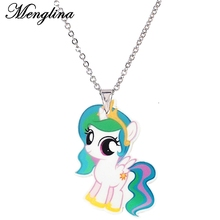 Menglina Fashion Cartoon Unicorn Necklace Cute Pony Acrylic Pendant Necklace For Children Resin Flatback Horse Necklace