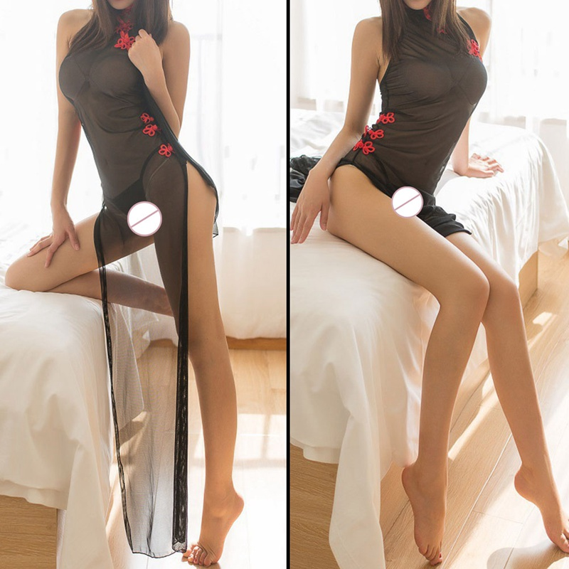 Sexy Costumes sexy lingerie women hot cosplay maid clothes sex costumes underwear Long cheongsam perspective intimates title=