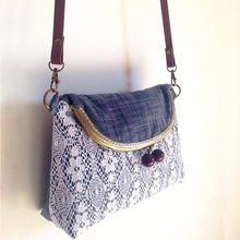 Cotton Handmade Bag Lace Women Tote Metal Frame Clutch Wine Red Beads Grey Women Saddle Double Sides Shoulder Bag Vintage Purse