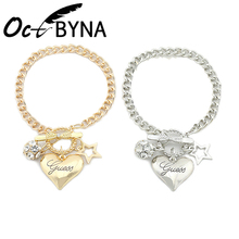 Octbyna Silver Plated 절묘한 Heart Brand Crystal 볼 Chain Bracelets (High) 저 (Quality Fashion Jewelry 어머니's 날 Gifts(China)