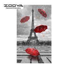 5D DIY Diamond Painting Eiffel Tower &Red Umbrella Diamond Painting Cross Stitch Diamond Drill Rhinestone Home Decoration CJ260