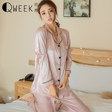 QWEEK Women Sleepwear Fashion 2017 Soft Silk Pajamas Women's Satin Pyjamas Long Sleeve Top+Pants Autumn Casual Sexy Women Suit