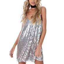 2017 Sexy Deep V Neck Silver Sequined Spaghetti Strap Party Women Dress Sleeveless Mini Dress Backless Sequin Night Club Dress