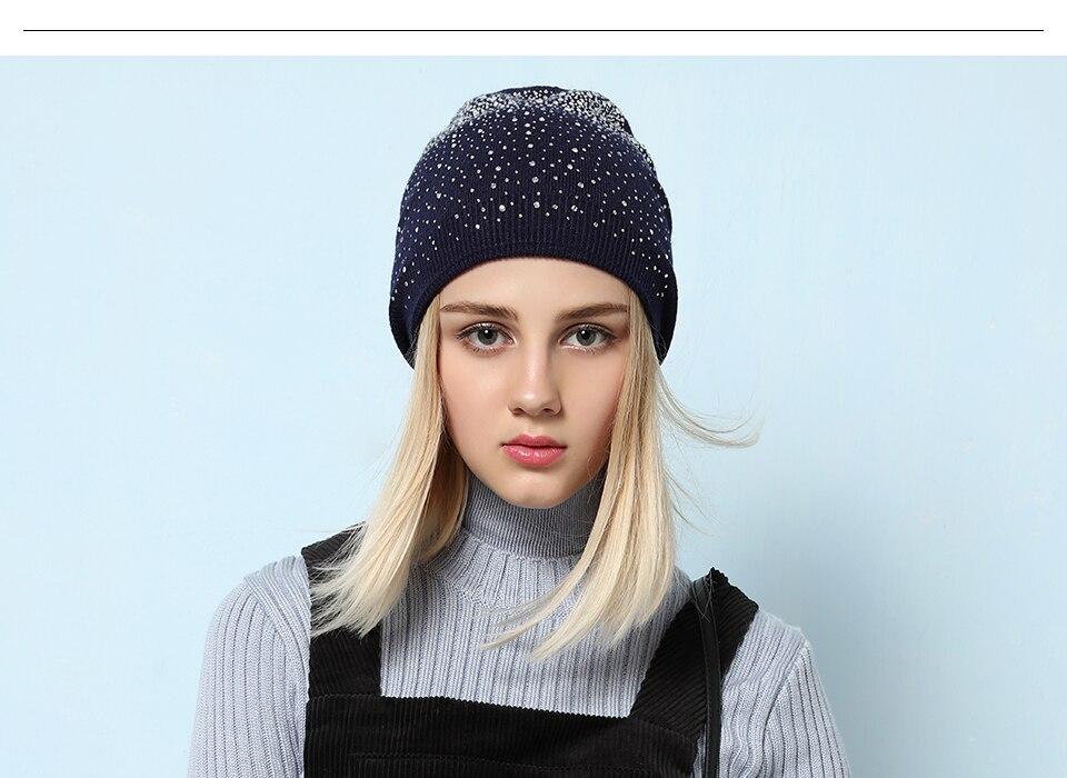 Ralferty Women's Hats Shiny beads Beanies Skullies Street Fashion Autumn Winter Hats For Women Thick Double Layer Caps Casual 4