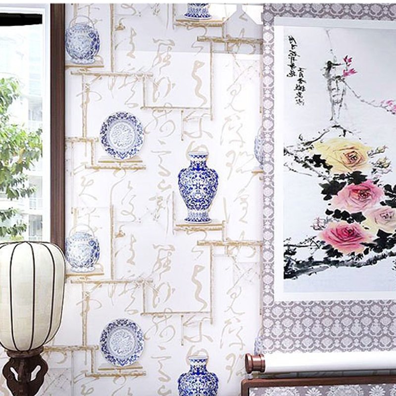 PVC 3D Blue And White Porcelain Classical Art Calligraphy Wallpaper Modern Hotels Background Covering Decor WP16015<br>