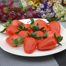 High artificial strawberry plastic strawberry fake fruit model photography props toy kitchen cabinet at home decoration(China)