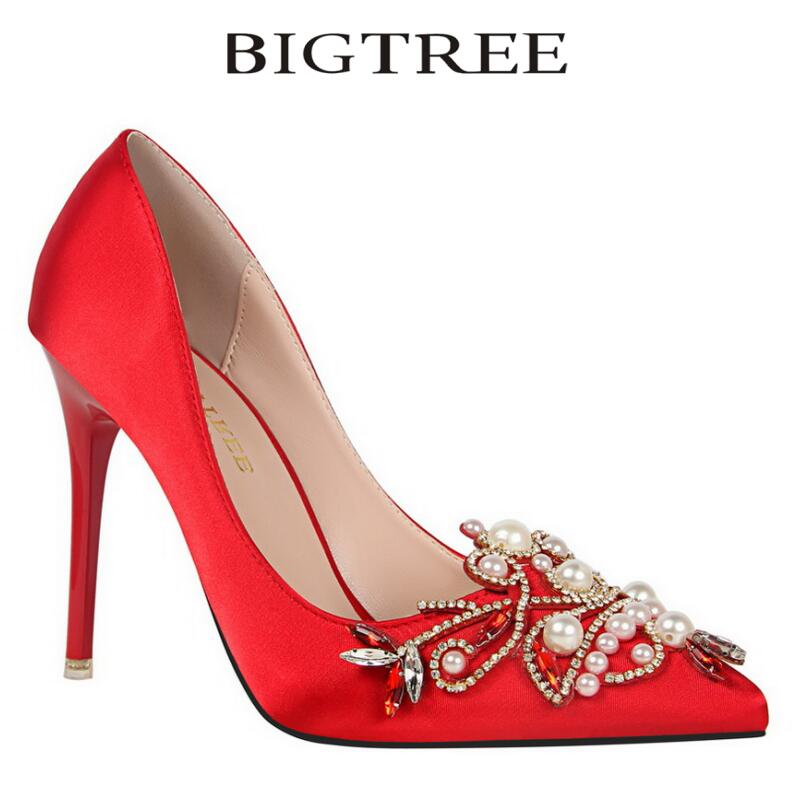 Bigtree Pumps Brand Womens Crystal Pumps Pearl Applique Pointed Toe Stiletto Thin Heel High Heels Wedding Shoes Woman Heels<br>
