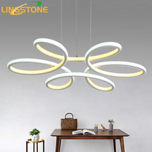 Chandelier Lighting Lustre Led Lamp Modern Hanging Light Fixture Aluminium Ceiling Plate Remote Control Chandeliers Living Room(China)
