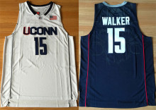 Kemba Walker UCONN Retro Dark blue/White Throwback Stitched Basketball Jersey Sewn Camisa Embroidery Logos