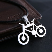 Fashion men Jewelry Bicycle Pendants necklaces 316L Stainless Steel Leather Chain  Men Necklaces Free Shipping