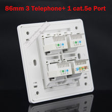 Wall plate 4 ports Three RJ11 TEL Phone Cat3 Socket + One CAT5 Cat5e Network LAN Outlet Panel Faceplat RJ45 Wholesale Lots