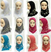 11pcs Girls Kids Muslim Pretty Hijab Islamic Arab Scarf Shawls Flower Pattern Wholesale