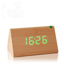 2017 new Temp+date+time Wooden alarm clock Sounds control white led electronic alarm clock Night glowing reloj despertador