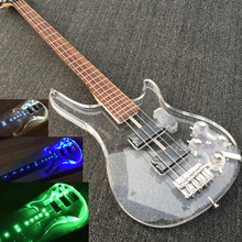 In Stock Factory Custom Acrylic 4 string Electric Bass guitar, Fingerboard & transparent acrylic body with LED light,Bass Guitar