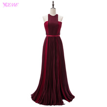YQLNNE Blake Lively Red Carpet Celebrity Dresses Burgundy Long Evening Gown Halter Crepe Split Runway Fashion Dress(China)