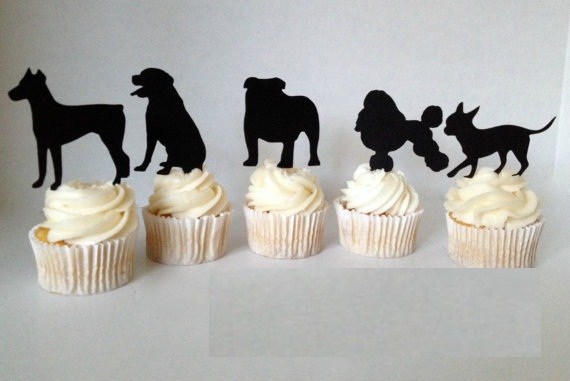 Adorable Puppy Silhouette Cupcake Toppers Pet Dog Birthday Party