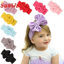 Hot Marketing 2015 Big Bowknot Baby Girls Cotton Headband Children Kids Head Wraps Accessories May7 Drop Shipping